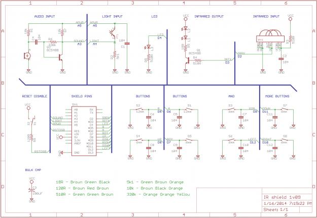 IR R3M0C0N Arduino Shield 1v09 Schematic
