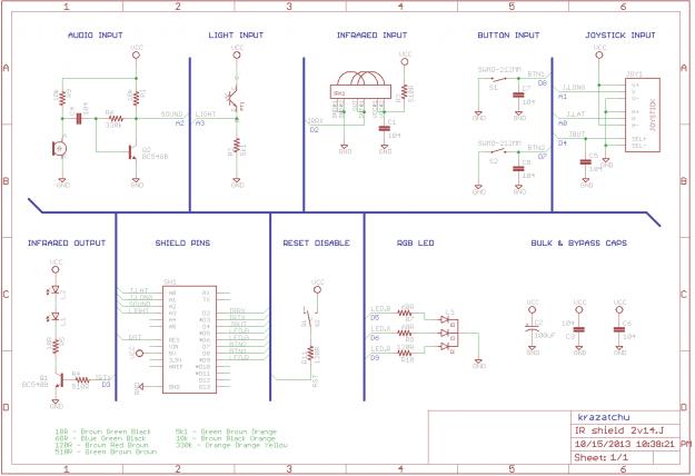 IR R3M0C0N Arduino Shield 2v14J Schematic