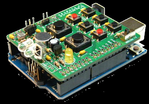 IR r3m0c0n shield 1v09 assembled onduino